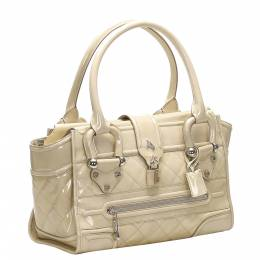 Burberry Beige Patent Leather Quilted Top Handle Bag 358881