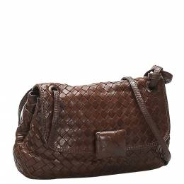 Bottega Veneta Brown Leather Intrecciato Crossbody Bag 358891