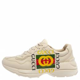 Gucci Mystic White Leather Gucci Square Logo Rhyton Low Top Sneakers Size 43 362305
