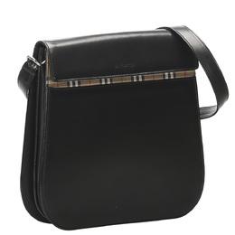Burberry Black Leather House Check Detail Crossbody Bag 358885