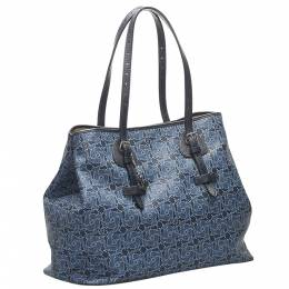 Celine Blue Canvas Carriage Tote Bag 359282