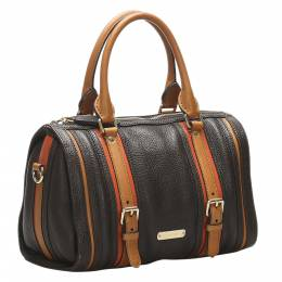 Burberry Brown/Tan Grained Leather Bag 358899