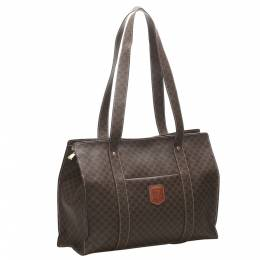 Celine Brown Coated Canvas Macadam Tote Bag 359281