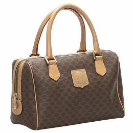 Celine Brown Coated Canvas Macadam Boston Bag 359280