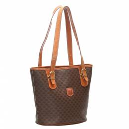 Celine Brown/Tan Coated Canvas Vintage Macadam Tote Bag 359386