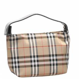 Burberry Tan/Multicolor House Check Coated Canvas Mini Bag 359259