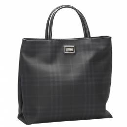 Burberry Black Leather/PVC Check Tote Bag 359257