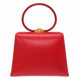 Hermes Red Leather Vintage Ilio Top Handle Bag 356664