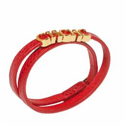 Carolina Herrera CH Logo Gold Tone Red Leather Double Wrap Bracelet Ch Carolina Herrera 362248