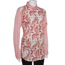 Etro Pink Paisley Print Cotton Button Front Shirt L 362062