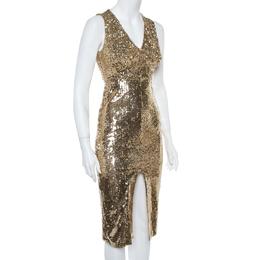 Alice + Olivia Gold Sequined Leora Midi Dress S 362277