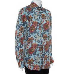 Etro Blue Linen Floral Print Slim Fit Shirt M 362503