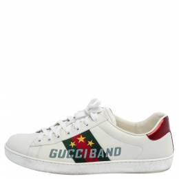 Gucci White Leather Ace Gucci Band Sneakers Size 44 363054