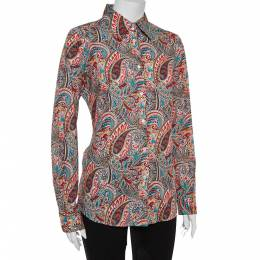 Etro Multicolor Cotton Paisley Print Full Sleeve Shirt L 362492
