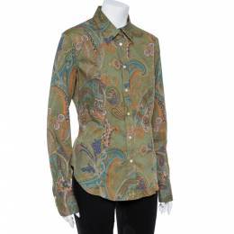 Etro Green Cotton Print Full Sleeve Shirt L 362496