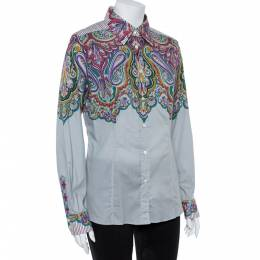 Etro Grey Cotton Half Print Half Plain Full Sleeve Shirt L 362499