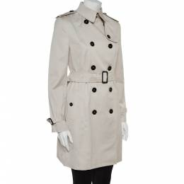 Burberry Stone Cotton Belted Trench Coat S 362012