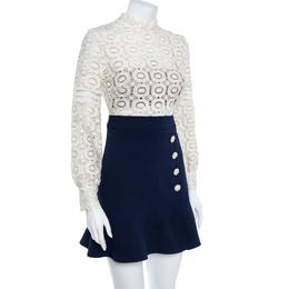Self-Portrait White Crochet Lace A-LIne Mini Dress S 362372