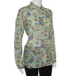 Etro Green Ramie Paisley Print Button Front Shirt L 362065
