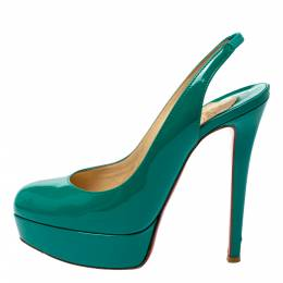 Christian Louboutin Green Patent Leather Slingback Platform Pumps Size 36 363666