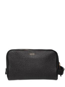 Leather Zip Toiletry Bag W/handle Tom Ford 73IY1D016-VTkwMDA1