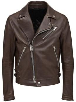 Shiny Leather Biker Jacket Tom Ford 73IY1B024-VjA30