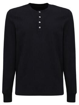 Marl Cotton Jersey Henley T-shirt Tom Ford 73IY1B020-SzA50