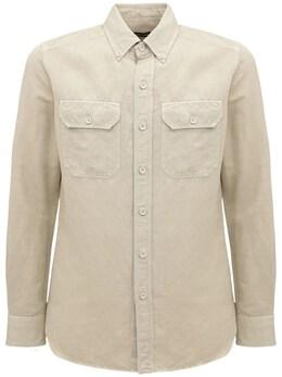 Garment Dyed Linen & Cotton Shirt Tom Ford 73IY1B011-TjA10