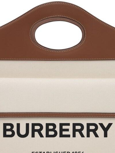 Сумка Из Кожи И Канвас С Логотипом Burberry 73ID1H028-QTEzOTU1 - 3