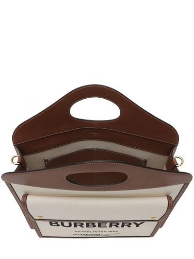 Сумка Из Кожи И Канвас С Логотипом Burberry 73ID1H028-QTEzOTU1 - 5