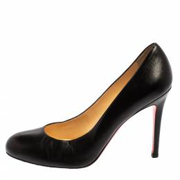 Christian Louboutin Black Leather New Simple Pumps Size 39.5 364484