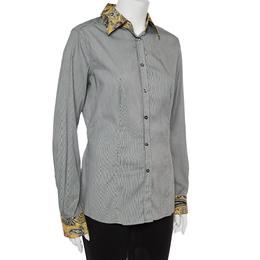 Etro Black and White Cotton Stripe Body with Paisley Print Shirt L 362484