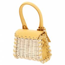 Jacquemus Yellow Wicker/Leather Le Chiquito Micro Bag 362603