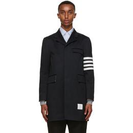 Thom Browne Navy Twill 4-Bar Coat MOU543A-03788