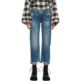 R13 Blue Straight Ripped Boy Jeans R13W0091-143A