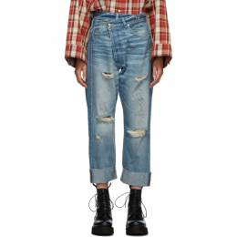 R13 Blue Cross Over Jeans R13W2048-747