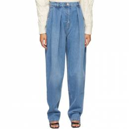 Magda Butrym Blue Tapered Pleat Jeans 190920