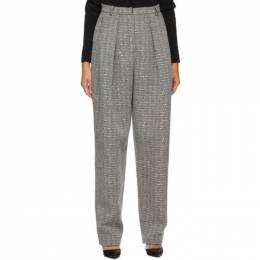 Magda Butrym Black and White Cashmere Herringbone Tapered Trousers 119920