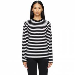 Maison Kitsune Black and White Marin Fox Patch Long Sleeve T-Shirt FU00115KJ0044
