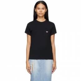Maison Kitsune Black Tricolor Patch Pocket T-Shirt FW00107KJ0010