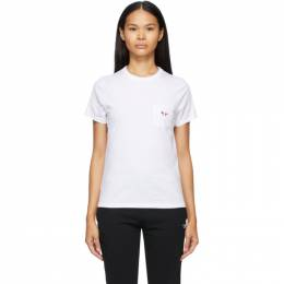 Maison Kitsune White Tricolor Fox Patch Pocket T-Shirt FW00107KJ0010
