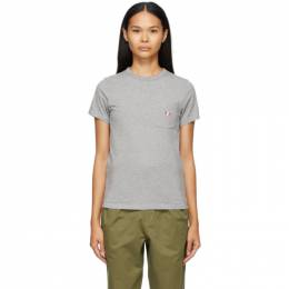 Maison Kitsune Grey Tricolor Fox Patch Pocket T-Shirt FW00107KJ0010