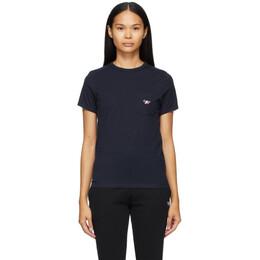 Maison Kitsune Navy Tricolor Fox Patch Pocket T-Shirt fw00107kj0010