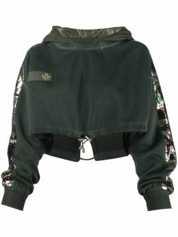 Mr & Mrs Italy cropped sequin-embellished hoodie XSS0149