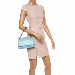 Bally Blue Leather Chain Shoulder Bag 364815