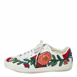 Gucci White Floral Embroidered Leather Ace Low Top Sneakers Size 36.5 364916