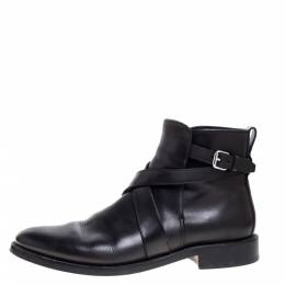 Burberry Black Leather Buckle Boots Size 42.5 364594