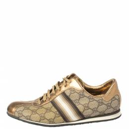 Gucci Beige/Gold Supreme Canvas and Leather Web Low Top Sneakers Size 39 364852