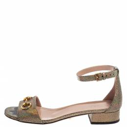 Gucci Multicolor Textured Leather Liliane Horsebit Ankle Cuff Flat Sandals Size 39 364691