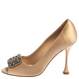 Manolo Blahnik Beige Satin Matik Peep Toe Pumps Size 37 364677